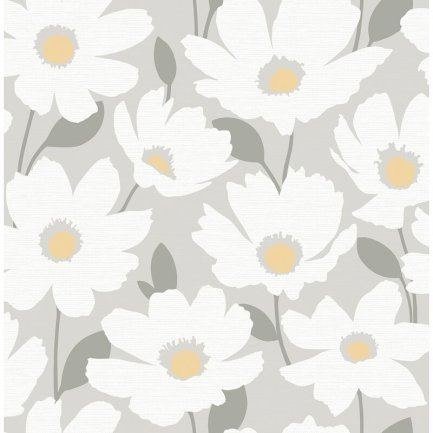 Astera+Grey+Floral+Wallpaper
